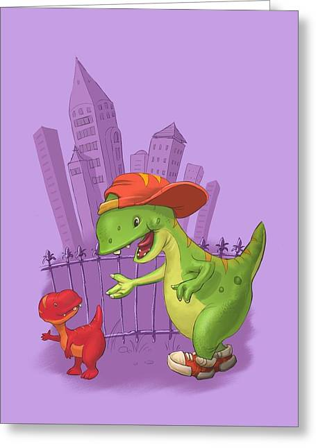 Rap-rap Raptor City Greeting Card by Andy Catling