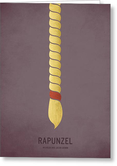 Minimalist Greeting Cards - Rapunzel Greeting Card by Christian Jackson