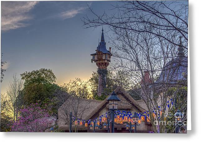 Rapunzel's Tower At Sunset Greeting Card