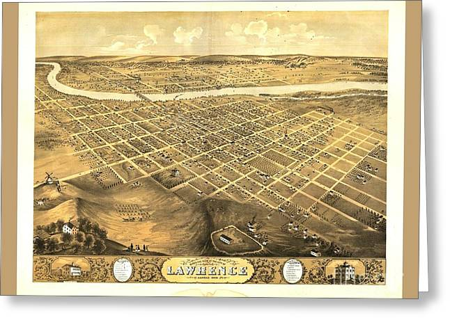 Map of kansas greeting cards page 3 of 4 fine art america rare old vintage map of lawrence kansas greeting card m4hsunfo
