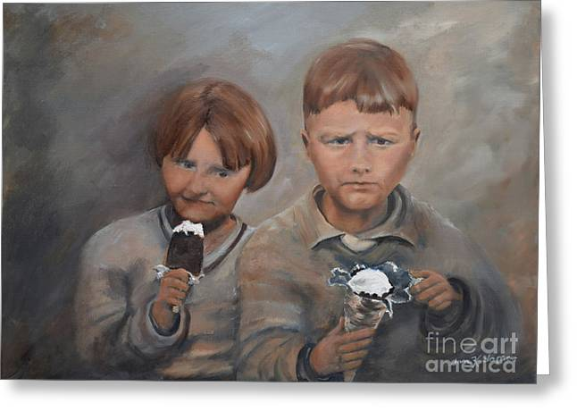 Greeting Card featuring the painting Rare Treat - Willie And Murrell-the Depression Era by Jan Dappen