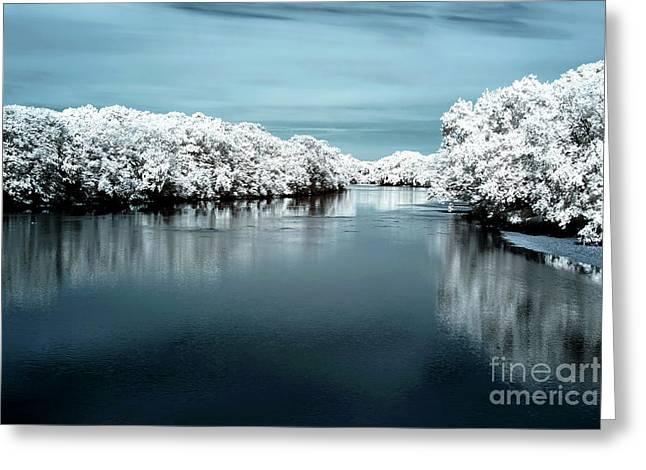 Raritan River Blue Infrared Greeting Card by John Rizzuto