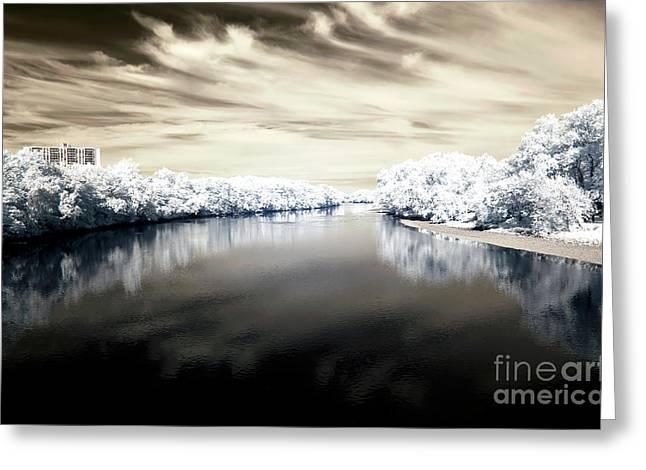Raritan River Brown Infrared Greeting Card by John Rizzuto