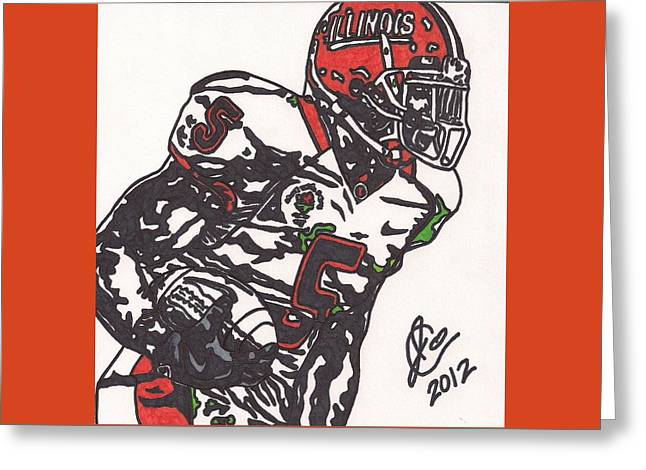 Greeting Card featuring the drawing Rashard Mendenhall 1 by Jeremiah Colley