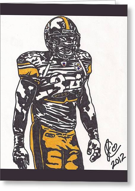 Greeting Card featuring the drawing Rashard Mendenhall 2 by Jeremiah Colley