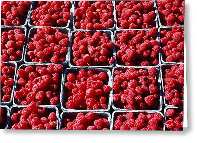 Raspberries At A Farmers Market Greeting Card by Panoramic Images