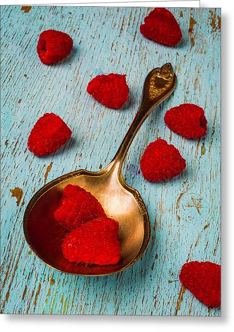 Raspberries With Antique Spoon Greeting Card by Garry Gay