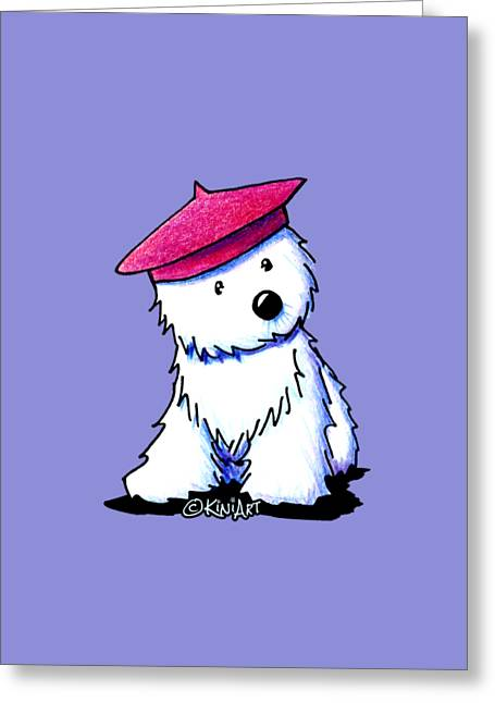 Raspberry Beret Westie Greeting Card by Kim Niles