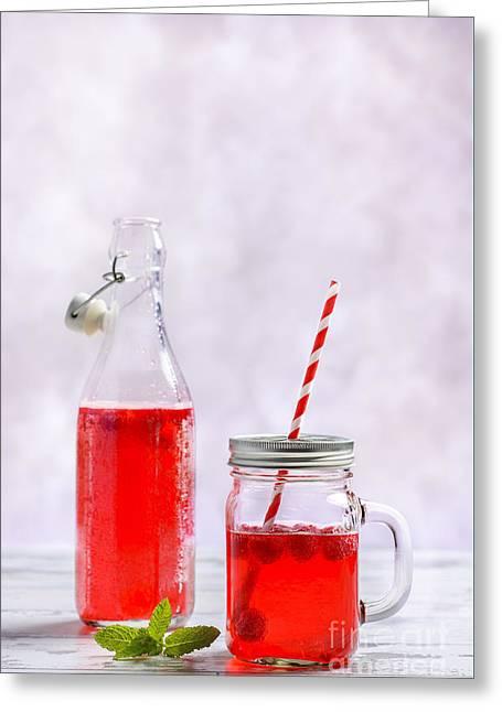 Raspberry Fruit Drink Greeting Card