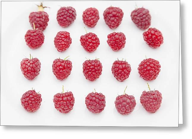 Raspberry Greeting Card by Maj Seda
