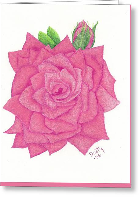 Raspberry Pink Rose Greeting Card by Dusty Reed