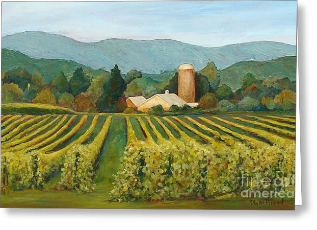 Greeting Card featuring the painting Raspberry Rows by Phyllis Howard