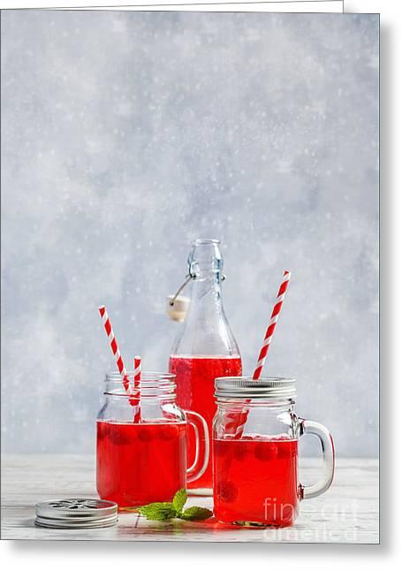 Raspberry Summer Drinks Greeting Card