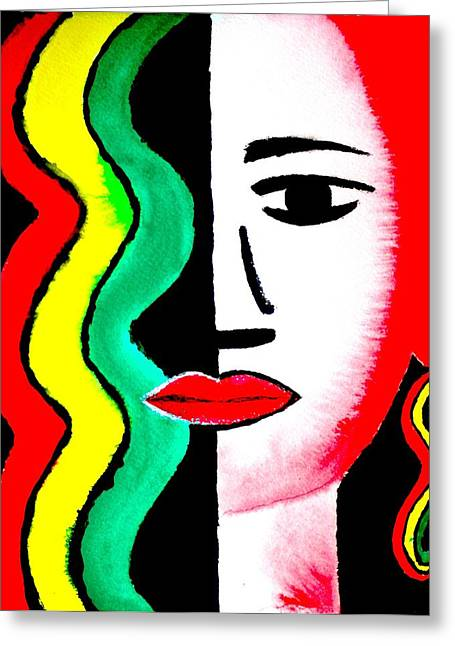 Rasta Icon Girl Greeting Card by William Burgess