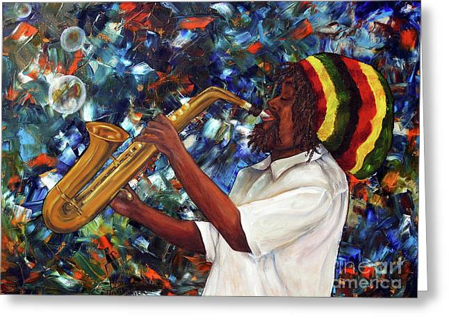 Rasta Sax Player Greeting Card by Anna-maria Dickinson