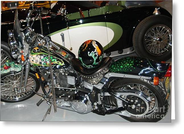 Rat Fink Motorcycle... Greeting Card by Rob Luzier