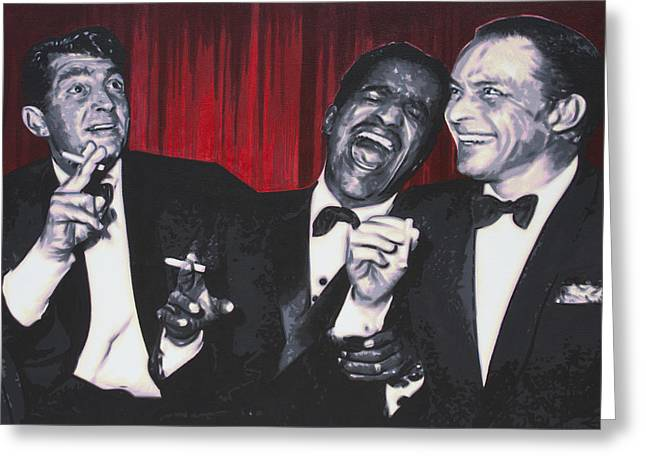 Rat Pack Greeting Card by Luis Ludzska