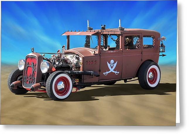 Rat Rod On Beach 3 Greeting Card by Mike McGlothlen