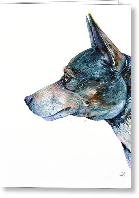 Greeting Card featuring the painting Rat Terrier by Zaira Dzhaubaeva