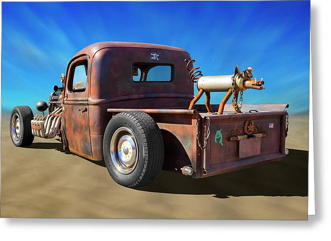 Greeting Card featuring the photograph Rat Truck On Beach 2 by Mike McGlothlen