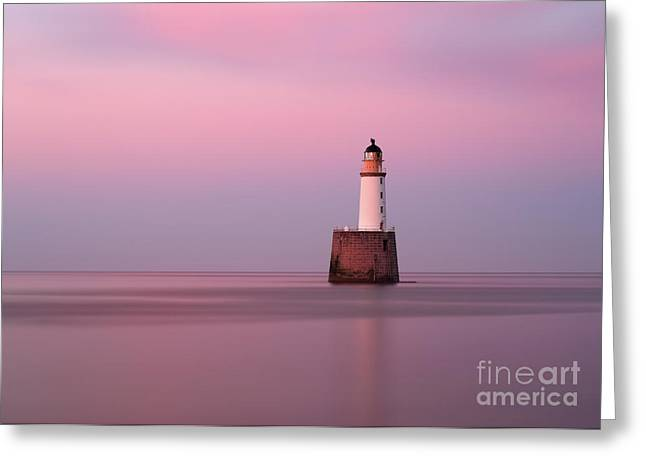 Rattray Head Lighthouse At Sunset - Pink Sunset Greeting Card