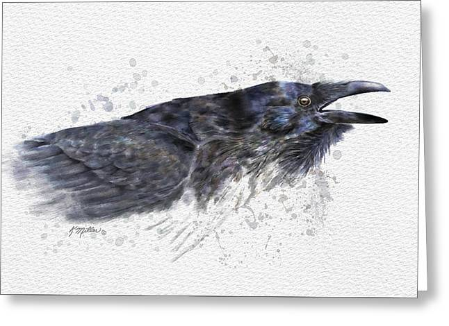 Raven 2 Greeting Card by Kathie Miller