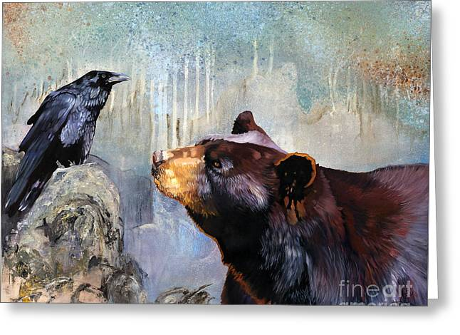 Raven And The Bear Greeting Card