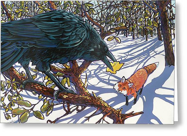 Raven And The Fox Greeting Card