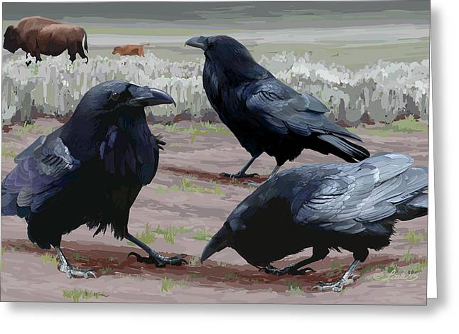 Raven Gathering Greeting Card
