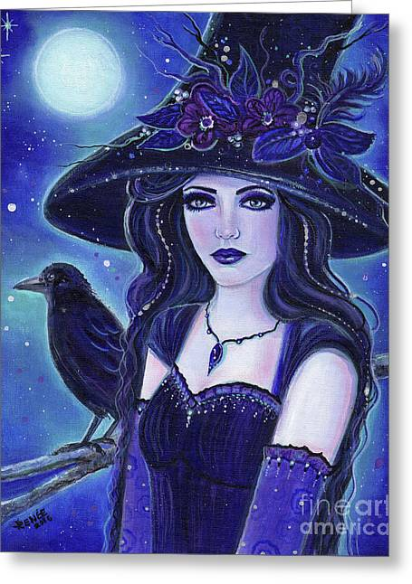 Raven Halloween Witch Greeting Card by Renee Lavoie