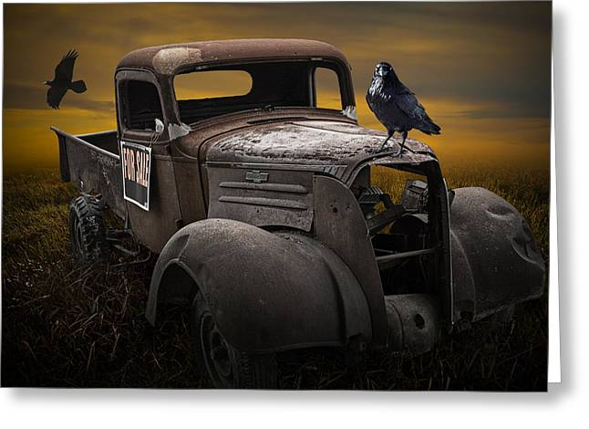 Raven Hood Ornament On Old Vintage Chevy Pickup Truck Greeting Card