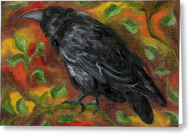 Raven In Autumn Greeting Card