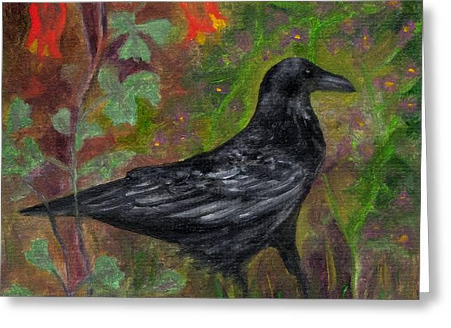 Raven In Columbine Greeting Card