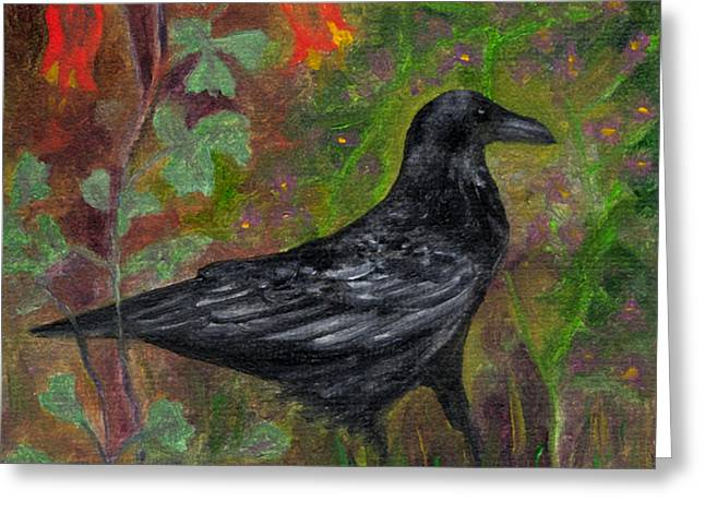 Raven In Columbine Greeting Card