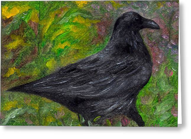 Raven In Goldenrod Greeting Card