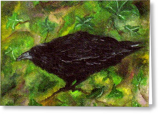 Raven In Ivy Greeting Card
