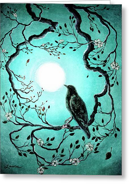 Raven In Teal Greeting Card by Laura Iverson