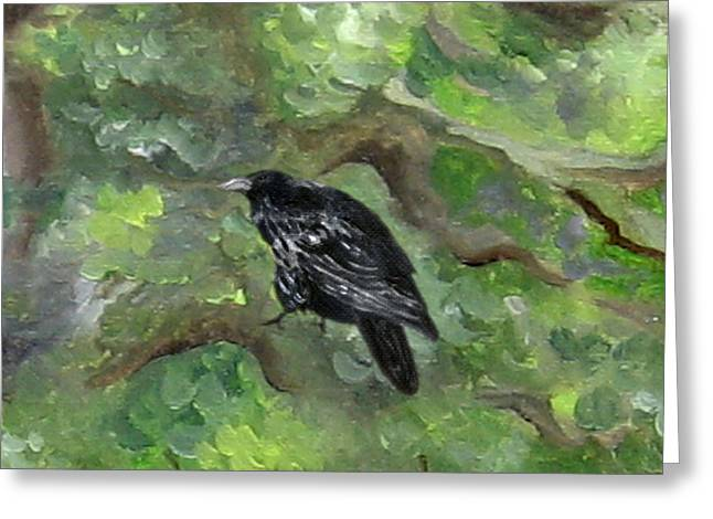Raven In The Om Tree Greeting Card