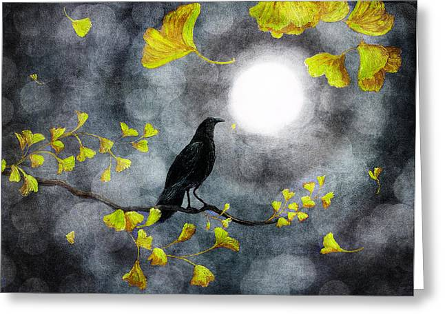 Raven In The Rain Greeting Card by Laura Iverson