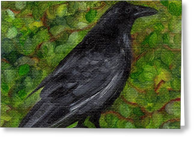 Raven In Wirevine Greeting Card