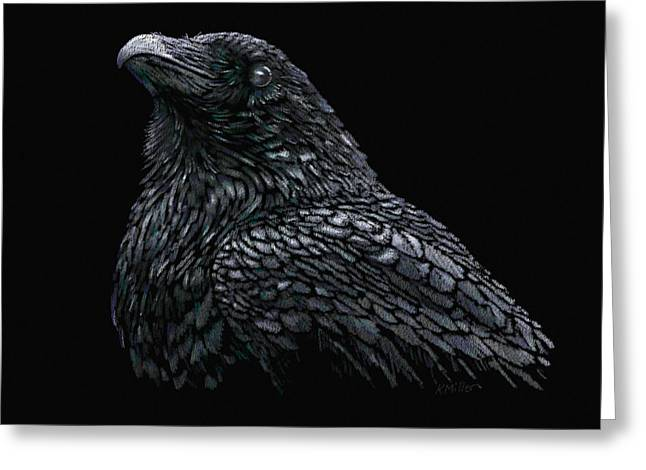 Raven Greeting Card by Kathie Miller