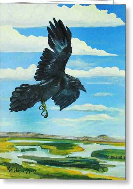 Raven Landing Greeting Card by Amy Reisland-Speer
