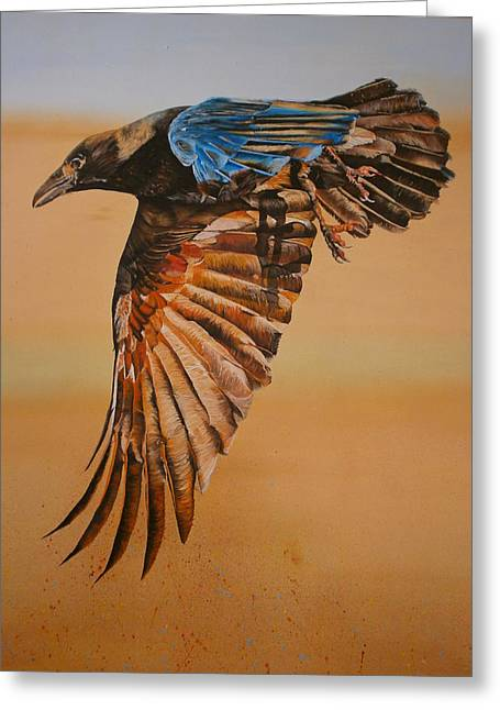 Raven Greeting Card by Maria Woithofer