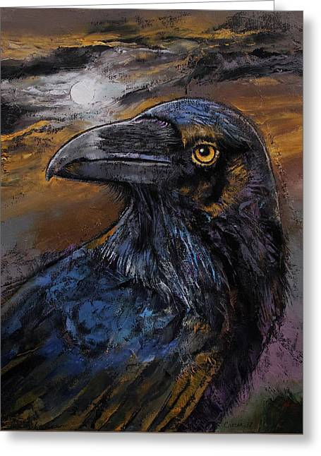 Raven Greeting Card by Michael Creese