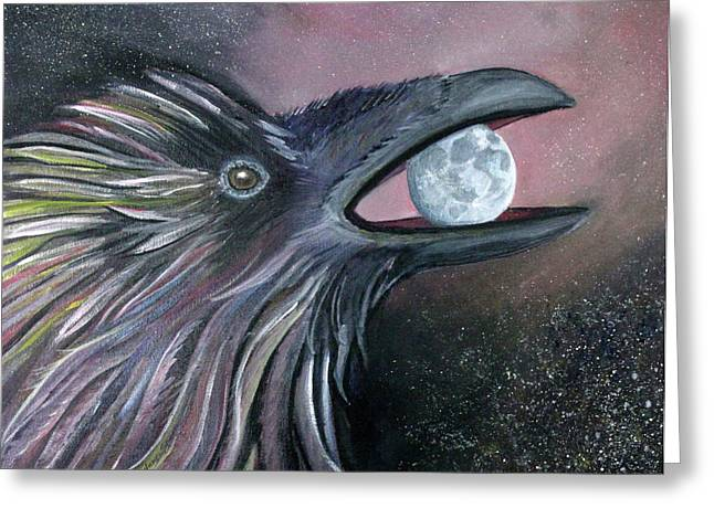 Raven Moon Greeting Card by Amy Reisland-Speer