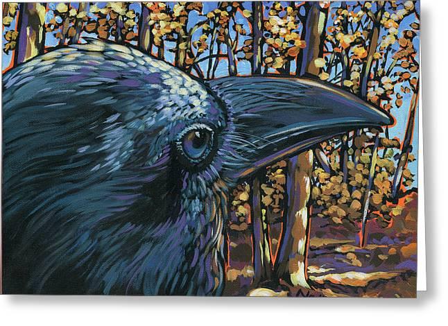 Raven Greeting Card by Nadi Spencer