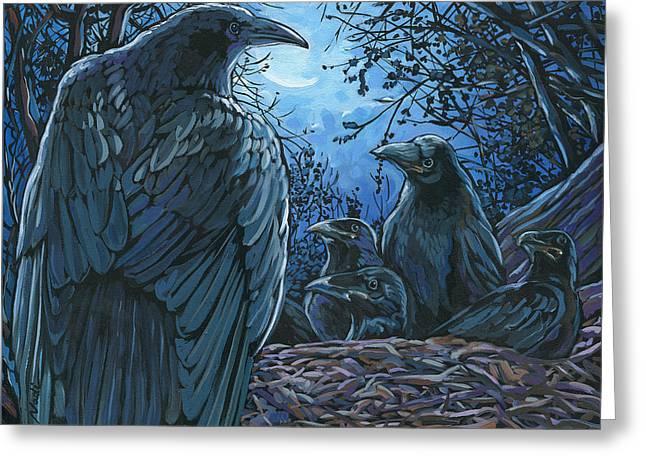 Raven Nest Greeting Card by Nadi Spencer
