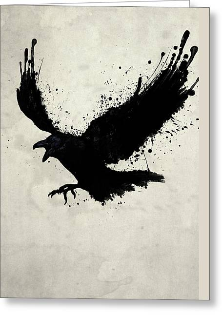 Digital Drawings Greeting Cards - Raven Greeting Card by Nicklas Gustafsson