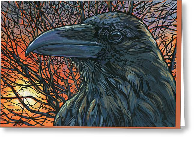 Raven Orange Greeting Card
