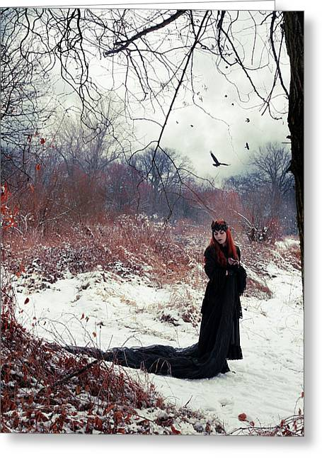 Raven Queen Greeting Card by Cambion Art